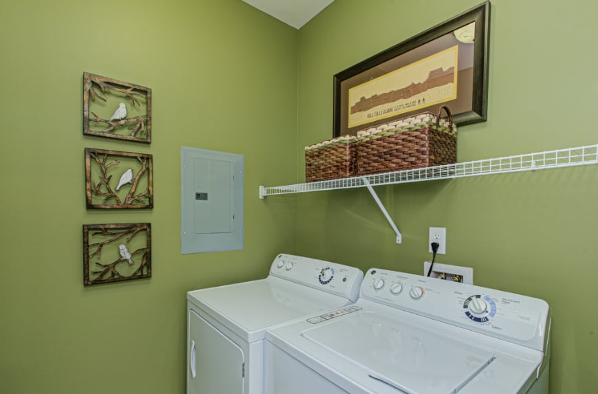 Laundry room in a Westfield townhome.